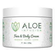 Aloe Infusion Face & Body Moisturiser Cream - With Organic Aloe Vera, Shea Butter, Coenzyme Q10, Grape Seed Oil, Kukui Nut Oil - For Acne, Eczema, Psoriasis, Sensitive Skin, Dry & Itchy Skin.