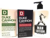 Duke Cannon Productivity-Naval Triumph 2 Pak Soap PLUS Man Stuff Man Lotion Set