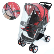 Buggy Rain Cover - Quality Universal Clear Transparent Pushchair Stroller Pram Wind Cover - Heavy Duty PVC Free with Breathable Air Inlets - Secure Fastening