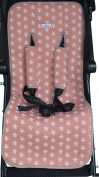 Universal Pushchair Luxury Foam Pink salmon Star +Protection Harnesses Janabebe®