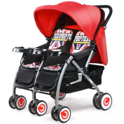 Guo Baby Stroller Twins Trolleys Can Be Folded Two-way Sit Can Be Infants And Young Children Double Stroller