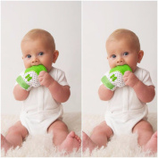 Mouthie Mitten 2 Pack Baby Teething Mitt Green*****USA Award Winning Baby Mitt*****Soothing Pain Relief - Age 3-12 months Washable