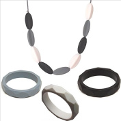 Olivia in Monochrome Necklace & Bracelet set - Num Num Teething Jewellery