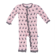 KicKee Pants Little Girls Fitted Ruffle Coverall, Lotus Puffin, 3-6 Months