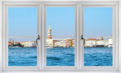60cm Window Landscape Scene City View VENICE ITALY SKYLINE DAY #2 WHITE CLOSED Wall Sticker Room Decal Home Office Art Décor Den Mural Man Cave Graphic SMALL