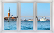 60cm Window Landscape Scene City View VENICE ITALY SKYLINE DAY #1 WHITE CLOSED Wall Sticker Room Decal Home Office Art Décor Den Mural Man Cave Graphic SMALL
