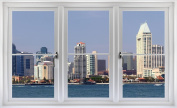 60cm Window Landscape Scene City View SAN DIEGO CALIFORNIA USA SKYLINE DAY #2 WHITE CLOSED Wall Sticker Room Decal Home Office Art Décor Den Mural Man Cave Graphic SMALL
