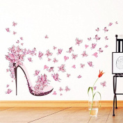 Pink Removable Butterfly High Heels Vinyl Wall Decals Home Decor Wall Stickers