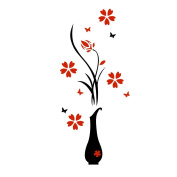 WinnerEco DIY 3D Plum Vase Wall Stickers Home Decor Creative Wall Decals XS