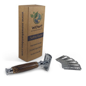 Double Edged Safety Razor with Long Natural Bamboo Handle - Experience A Better Shave - Includes 5 Blades - Eco Friendly Male Grooming - WowE LifeStyle Products