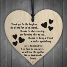 Red Ocean Best Friends Forever Wooden Hanging Heart Friendship Love Gift - Thank You Sign