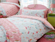 Kidz Club Magical Unicorns Childrens Single Bed Duvet Cover and Pillowcase, Blue