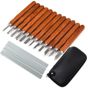 Zealor 17 Pieces Set Carbon Steel Wood Carving Tools Kit with Whetstones and Storage Case