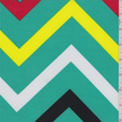 ITY Aqua Green Multi Chevron Jersey Knit, Fabric Sold By the Yard