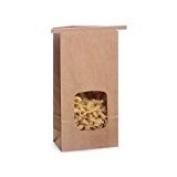 25 0.7kg. Tin Tie Bakery Bag w/ Window - Kraft