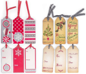 12 Assorted Cute Festive Christmas Gift Tags with Ribbons - Measures 11cm x 3.8cm