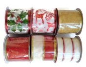 Christmas Holiday Wire-Edged Polyester Ribbon, 6-ct, 16m Total