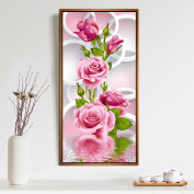 Wivily 5D Diamond Painting Needlework DIY Diamond Painting Cross Stitch Diamond Craft Pink Rose
