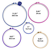 5 Piece Embroidery Hoops-Cross Stitch Hoop Ring - 13cm to 28cm - Various Colours and Size for all needle craft needs-Durable Plastic Hoop Set-By HandiStitch by Handi Stitch