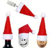 4PCS Christmas decorations bottle knife and fork set tableware Christmas hat store tools