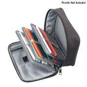 Corasays 72 Slots Detachable Oxford Canvas School Pencils Case, Large Capacity Watercolour Coloured Pencil Bag Black