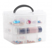 3-Layer Detachable Portable Clear Hard Plastic Ornament Box Holder Carrier with Handle & Latches Art Craft Jewellery Earring Ring Beads Sewing Pills Accessories Storage Organiser Container Case