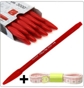Monami Plus 3000 Office Sign Pen,+Free Tape Measure,Made in Korea,12pcs per 1 pack Complete Red Dozen Box