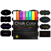 Chalk Colour Markers 3mm Rounded Tip Liquid Ink Pens 8 Pack With 16 Free Reusable Chalkboard Labels