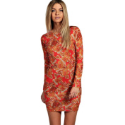 Women Dress,Neartime Xmas Long Sleeve Floral Christmas Party Mini Dress