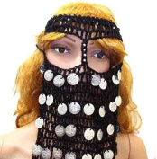 BELLY DANCE COSTUME HEAD BAND COINS CROCHET FACE MASK VEIL BURKA BORQA BURQA 411