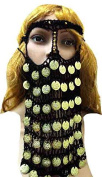 BELLY DANCE COSTUME HEAD BAND COINS CROCHET FACE MASK VEIL BURKA BORQA BURQA 411