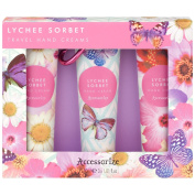 Accessorise Lychee Sorbet Travel Hand Creams 3 x 30ml