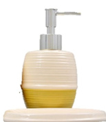 Designer Colours Ceramic Bath Accessories Set Lotion Soap Dispenser, & Soap Dish (Khaki) by Greenbrier 2pcs set