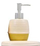 Designer Colours Ceramic Bath Accessories Set Lotion Soap Dispenser, & Soap Dish (Khaki) by Greenbrier 2pcs set