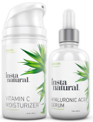 InstaNatural Hyaluronic Acid Serum & Vitamin C Moisturiser Nourishing Skin Bundle Pack - For Dry Skin, Anti Ageing & Deep Hydration for Sensitive Skin, Wrinkle Reducing Formula