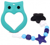 LONGDA - Baby Teething Toys with Pacifier Clip, BPA-Free FDA Approved Food Grade Silicone Teether Set, Adorable Owl Ring Design Teether + One Silicone Beaded Pacifier Clip