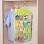 Leyouyou520 1 Pieve Clear Hanging Storage Bag,Socks,Bra,Underwear Rack 16 Pockets Hanger Organiser