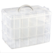TOOGOO(R) Cosmetic Makeup Storage Case Box Holder Organiser Container 3 Layers 30 Grids