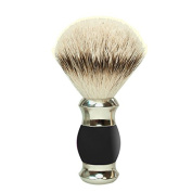 100 Percent silver-tipped Silver Badger Shaving Brush with Black Handle, 1 piece gold