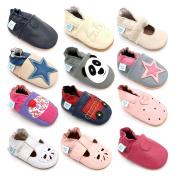 Dotty Fish Girls & Boys Soft Leather Baby Shoes - Grey Panda - 4-5 Years