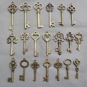SL crafts Mixed Set of 20 Skeleton Keys Antiqued Brass Bronze Charms Pendants Wedding favour 38mm-68mm