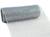25cm x 9.1m Deco Poly Mesh Ribbon - Metallic Silver