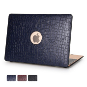 Macbook 30cm Case - Dowswin Hard Shell Cover with Leather Surface [Inclusive Leathery Design with Back Round Hole] Perfect Protection for Apple Macbook