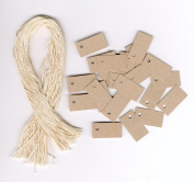 100 Blank Mini TINY KRAFT Hang Tags (1.3cm x 2.5cm ) & 100 Cut Strings for Crafts & Gifts. Personalise & Price your merchandise.