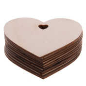 Pack of 10 80MM Wooden Heart Kids Crafts Christmas Tree Ornaments Wood Hanging