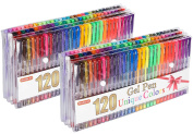 Shuttle Art 240 Pcs Gel Pens,Gel Pen Set with case for Adult Colouring Books