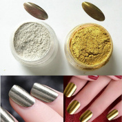 Sindy 2Pcs/set Nail Chrome Pigment 1g Mirror Powder Gold Silver Pigment Nail Glitter Nail Art Chrome Effect Magic Mirror Powder Set