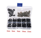 TOPWEL 100PCS(1 Box)6-12mm 5 Sizes Solid Black Plastic Safety Noses Eyes for Sewing for Bear Doll of DIY