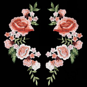 2pcs Beautiful Flowers Embroidered Iron on Applique Patches