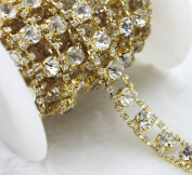 1 Yard 2 Rows 2.5mm Costume Applique Clear Crystal Rhinestone Gold Chain Sew On Rhinestone Wedding Cake Decoration